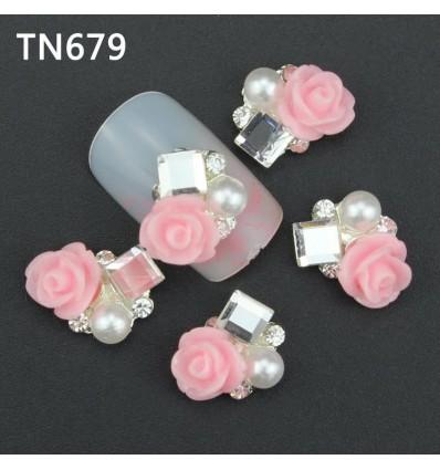 Bijoux pour ongles pierre et fleur rose